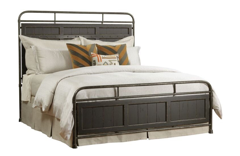 FOLSOM KING METAL BED - COMPLETE - ANVIL FINISH