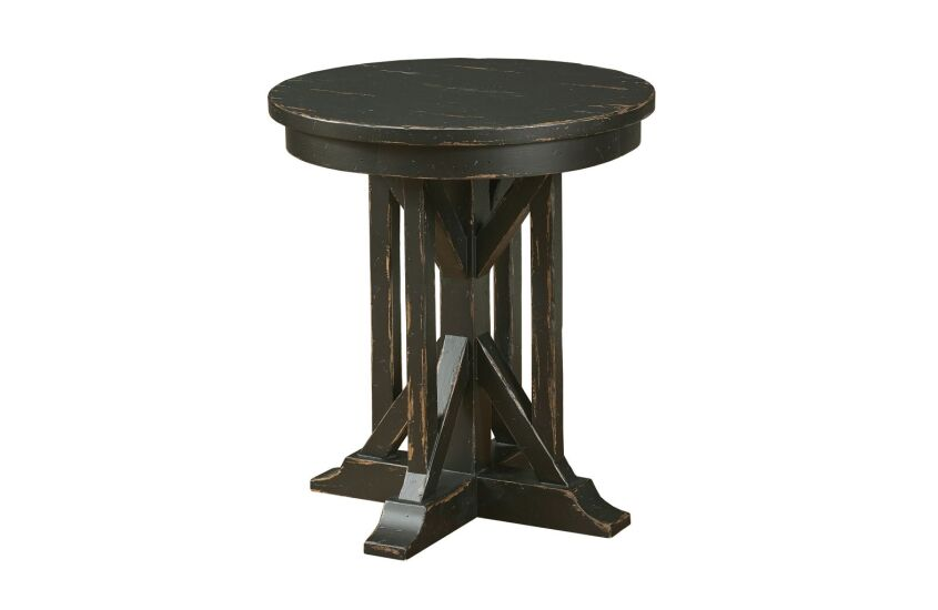 "22"" JAMES ROUND END TABLE - ANVIL FINISH"