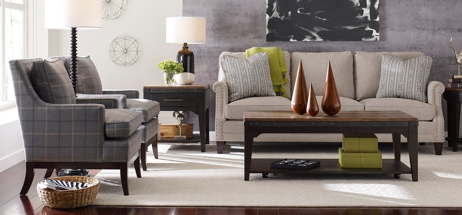 Plank Road solid wood tables and custom sofa by Kincaid Furniture