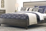 Modern, solid wood bedroom collection featuring an upholstered headboard. thumbnail