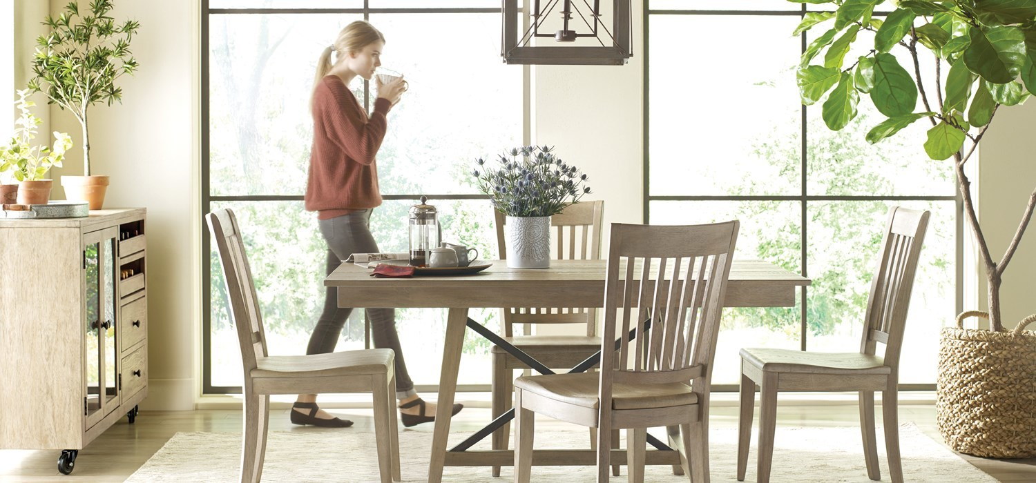 Modern style casual dining in solid wood